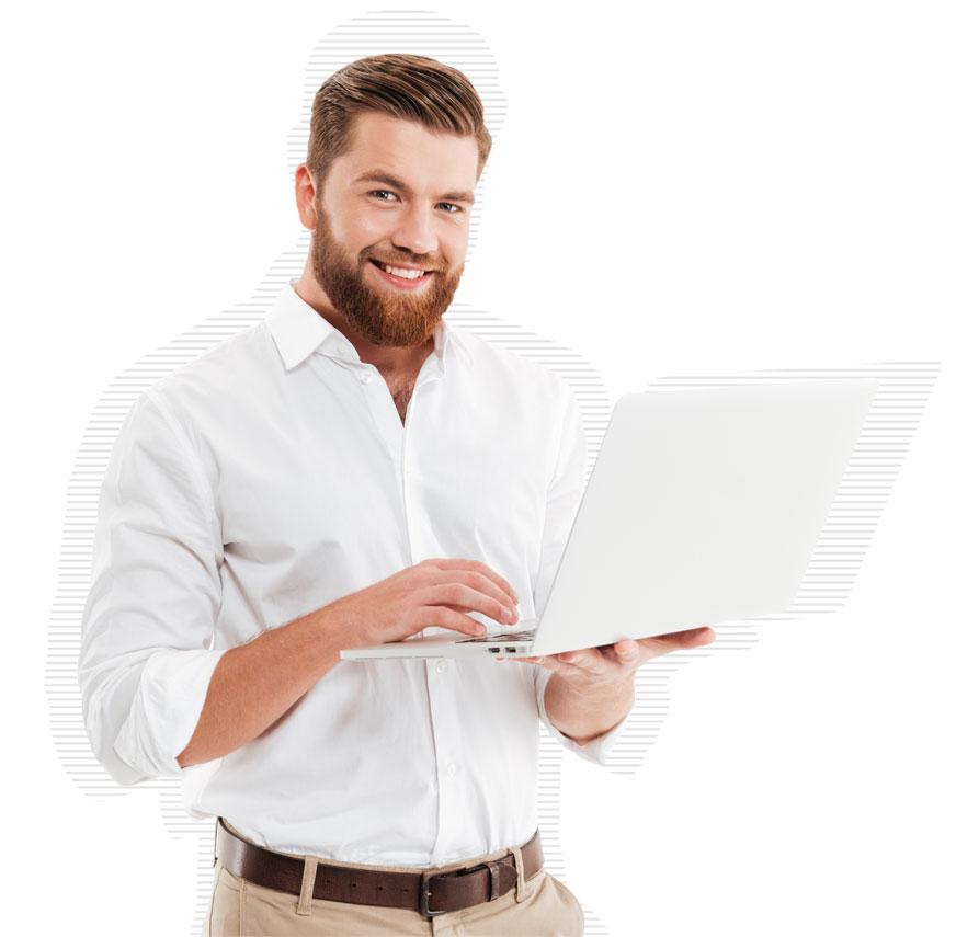Mitarbeiter freut sich über Service-Desk-Lösung