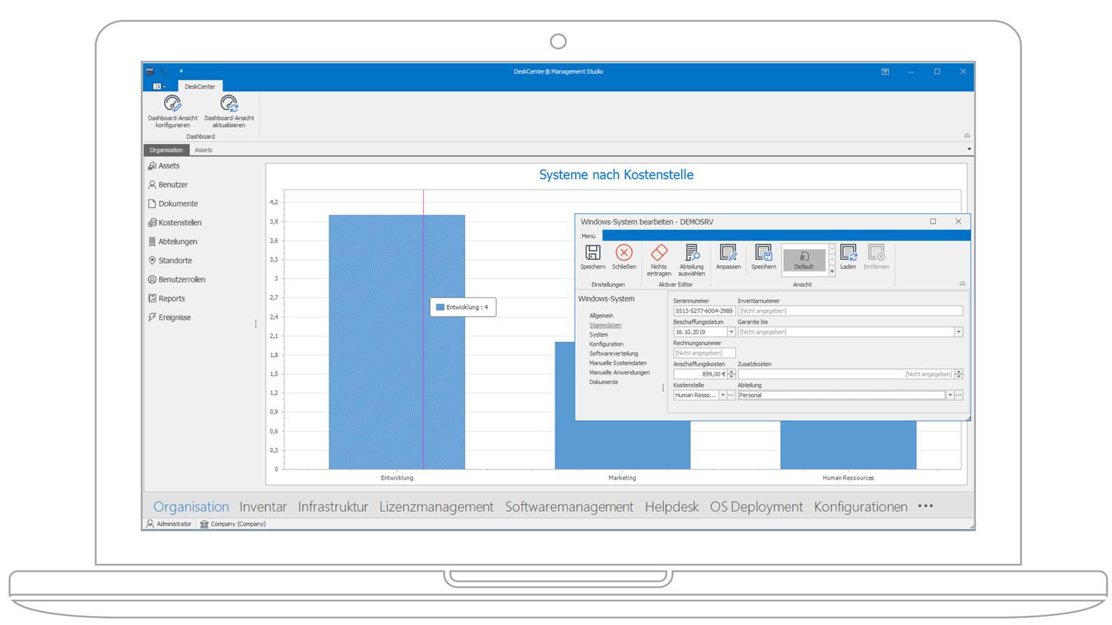 Screenshot des Deskcenter Assetmanagements