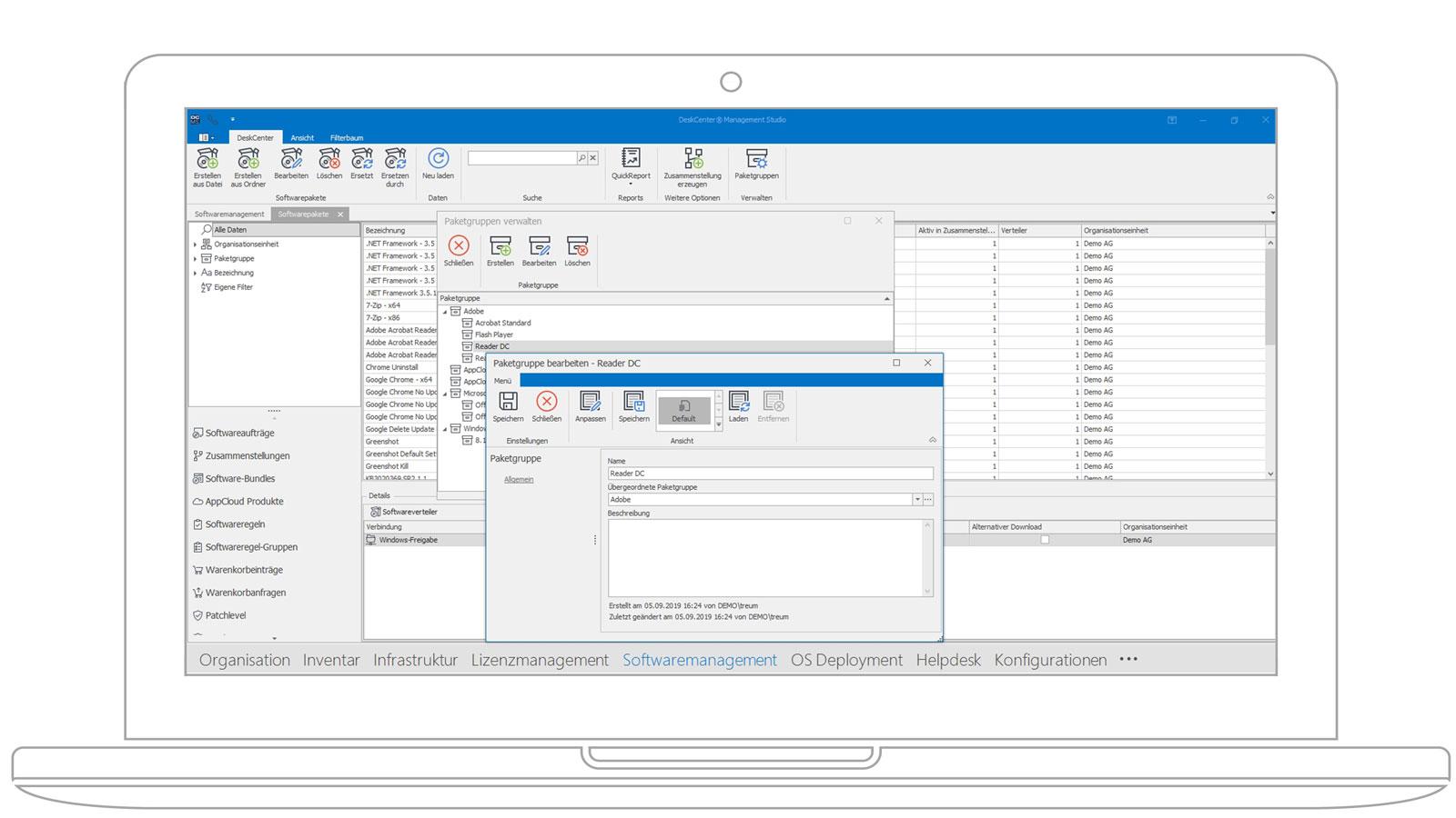 Screenshot der Deskcenter Softwarepaketierung