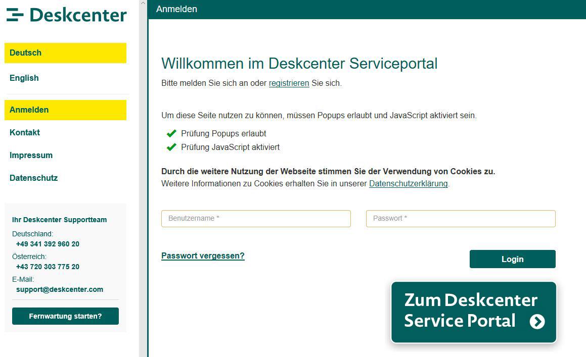 Screenshot Serviceportal Deskcenter