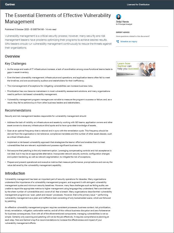 Vulnerability Managemen Gartner Report